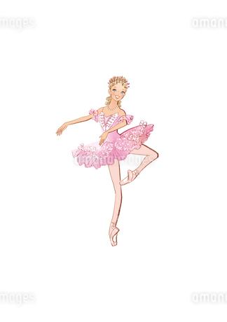 バレエ「眠りの森の美女」オーロラ姫を踊る女性のイラスト素材 [FYI01823167]