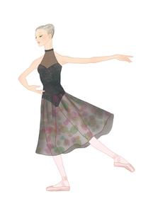 黒いレオタードでバレエのレッスンをする女性のイラスト素材 [FYI01823168]