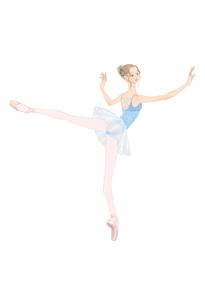 水色のレオタードでバレエのレッスンをする女性のイラスト素材 [FYI01823172]