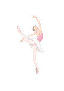 ピンク色のレオタードを着てバレエのレッスンをする女性のイラスト素材 [FYI01823174]