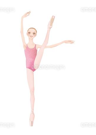 ピンクのレオタードを着てバレエのレッスンをする少女のイラスト素材 [FYI01823187]