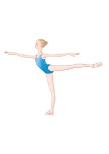 バレエのアラベスクのレッスンをする少女のイラスト素材 [FYI01823189]