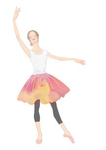 花柄のスカートを着て踊る女性のイラスト素材 [FYI01823192]