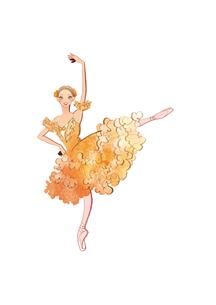 バレエ「ドン・キホーテ」キトリを踊る女性のイラスト素材 [FYI01823201]