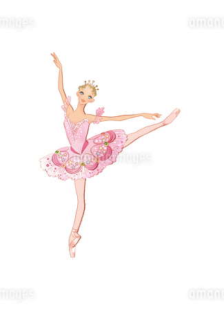 バレエ「くるみ割り人形」金平糖の精を踊る女性のイラスト素材 [FYI01823202]