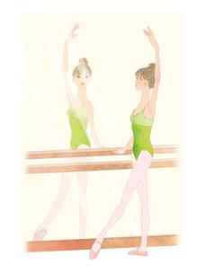 鏡を見ながらバーレッスンする女性のイラスト素材 [FYI01823206]