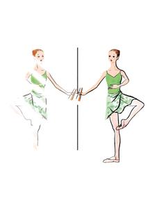 バレエのレッスンをする女性のイラスト素材 [FYI01823215]