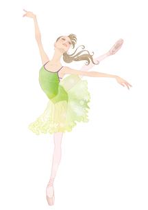 若草色のレオタードでバレエのレッスンをする女性のイラスト素材 [FYI01823227]