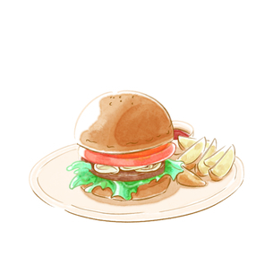 水彩タッチのハンバーガーとフライドポテトのイラスト素材 [FYI01823228]
