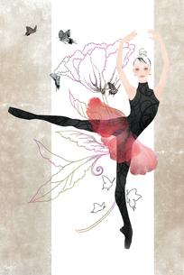 花と蝶をバックに赤いチュチュを着て踊る女性のイラスト素材 [FYI01823242]