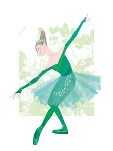 緑色の衣装を着てバレエを踊る女性のイラスト素材 [FYI01823248]