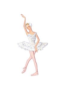 バレエ「白鳥の湖」オデットを踊る女性のイラスト素材 [FYI01823304]