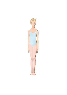 水色のレオタードを着て、まっすぐ立つ女性のイラスト素材 [FYI01823352]