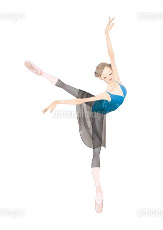 黒いタイツでバレエのレッスンをする女性のイラスト素材 [FYI01823363]