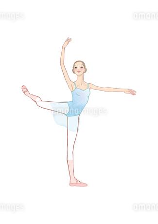 バレエのアティテュードのポーズをとる女性のイラスト素材 [FYI01823366]