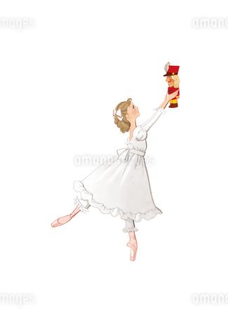 バレエ「くるみ割り人形」クララを踊る少女のイラスト素材 [FYI01823420]