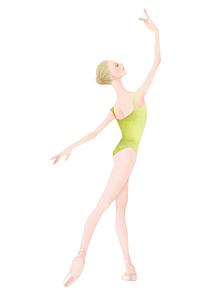 黄緑色のレオタードを着てバレエのレッスンをする女性のイラスト素材 [FYI01823428]