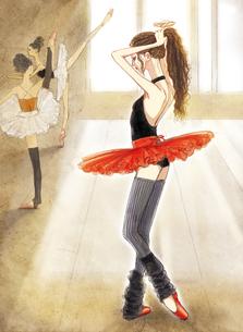 レッスン場で髪を束ねる赤いチュチュのバレリーナのイラスト素材 [FYI01823478]