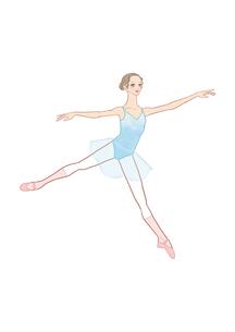 水色のレオタードを着てバレエのレッスンをする女性のイラスト素材 [FYI01823603]