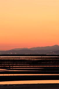 海苔の養殖と朝焼け の写真素材 [FYI01824552]