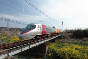 特急列車と菜の花の写真素材 [FYI01824606]
