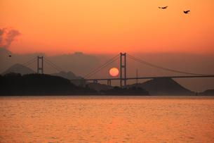 来島海峡大橋に昇る朝日の写真素材 [FYI01825261]