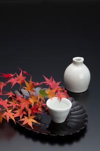 菊型の盆と紅葉と酒器の写真素材 [FYI01825711]