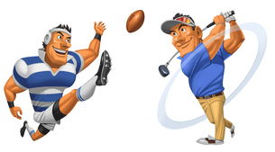 キックを決めるラグビー選手とTショットを決めるゴルファーのイラスト素材 [FYI01825774]