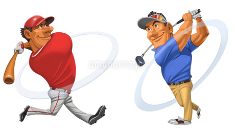 フルスウィングするバッターとTショットを決めるゴルファーのイラスト素材 [FYI01825778]