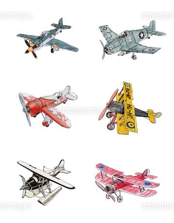 ブリキの飛行機いろいろのイラスト素材 [FYI01825869]