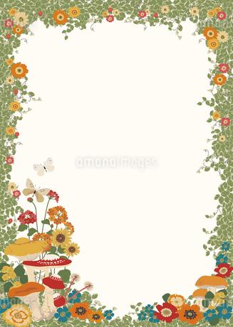 きのこと花のフレームのイラスト素材 [FYI01825893]