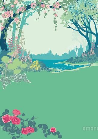 花の咲く森の中のイラスト素材 [FYI01825925]