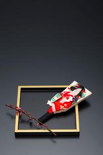 梅の花と盆と羽子板の写真素材 [FYI01825927]