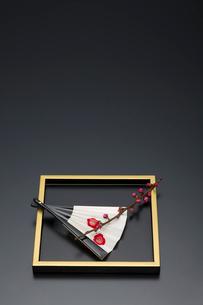 梅の枝と盆と扇子の写真素材 [FYI01825929]