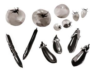トマト、ナス、キュウリのイラスト素材 [FYI01825946]