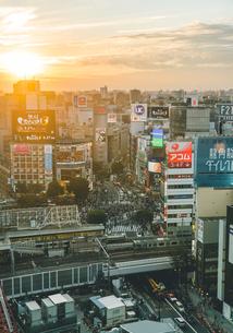 ヒカリエから望む日が沈む渋谷の街並みの写真素材 [FYI01826191]