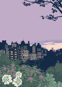 夕方の都会と自然のイラスト素材 [FYI01826274]