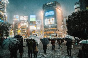 雪降る夜の渋谷駅前 傘をさして歩く人たちの写真素材 [FYI01826277]