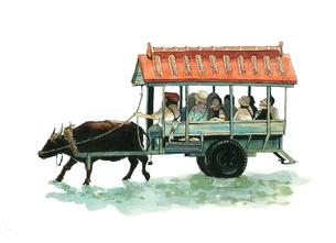 水牛と牛車のイラスト素材 [FYI01826322]