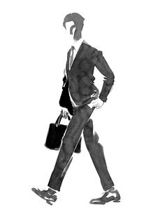 カバンを持って歩くビジネスマンのイラスト素材 [FYI01826554]