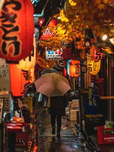 秋のデコレーションの思い出横丁を傘をさして歩く人の写真素材 [FYI01826637]