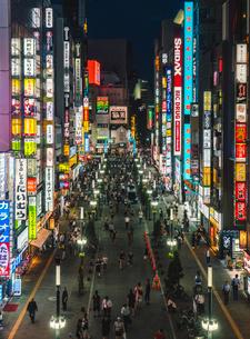 新宿東宝ビルから望む新宿歌舞伎町ゴジラロードを歩く群衆の写真素材 [FYI01826638]
