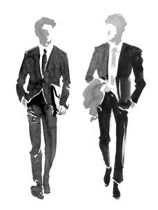 会話をしながら歩くビジネスマンのイラスト素材 [FYI01826640]