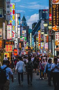 歌舞伎町桜通りのネオンと群衆の写真素材 [FYI01826980]