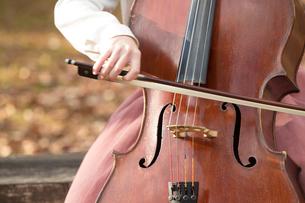 公園でチェロを弾く20代女性の写真素材 [FYI01827947]