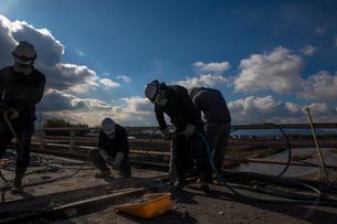 橋の工事現場で働く30代男性の写真素材 [FYI01828295]