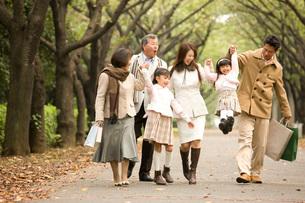 並木道を歩く三世代ファミリーの写真素材 [FYI01832237]