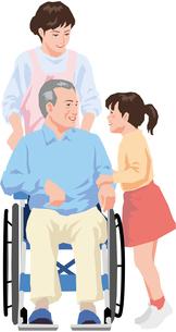 車いすに乗った男性と会話をする女の子のイラスト素材 [FYI01844266]