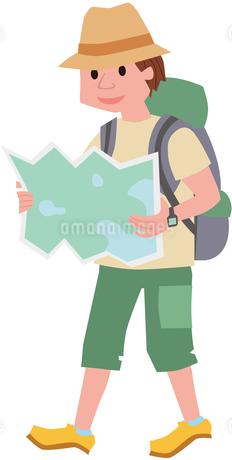 街歩きをするバックパッカーのイラスト素材 [FYI01844721]