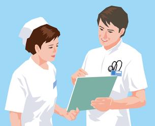 資料の受け渡しをする男女看護師のイラスト素材 [FYI01845272]